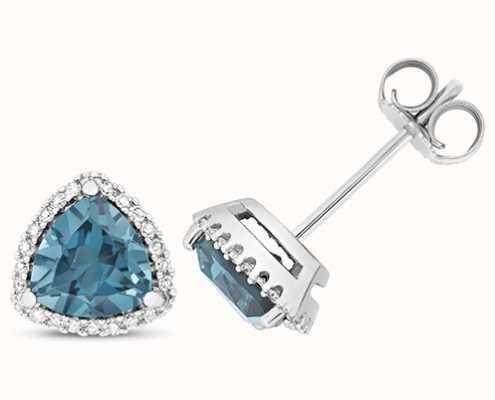 Treasure House 9k White Gold Diamond Blue Topaz Trillion Stud Earrings ED256WLB