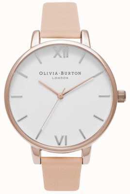 Olivia Burton   Womens   Big White Dial   Nude Peach Leather Strap   OB16BDW21