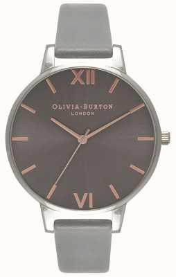 Olivia Burton   Womens   Big Grey Dial   Grey Leather Strap   OB16BD90