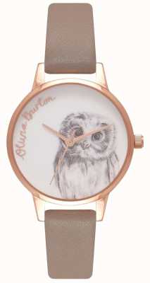 Olivia Burton   Womens   Owl Motif   Iced Coffee Leather Strap   OB16AM110
