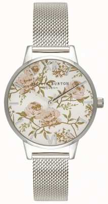 Olivia Burton | Womens | Parlour Peony Floral | Stainless Steel Mesh OB16PL33