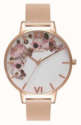 Olivia Burton   Womens   Signature Floral Dial   Rose Gold Mesh Bracelet   OB16WG18