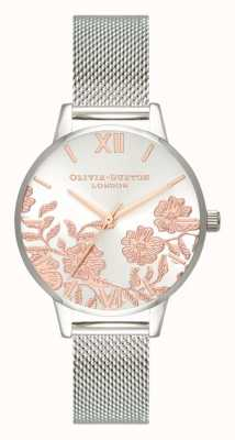 Olivia Burton | Womens | Lace Detail | Stainless Steel Mesh Bracelet | OB16MV90