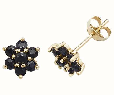 Treasure House 9k Yellow Gold Sapphire Flower Stud Earrings ES544S
