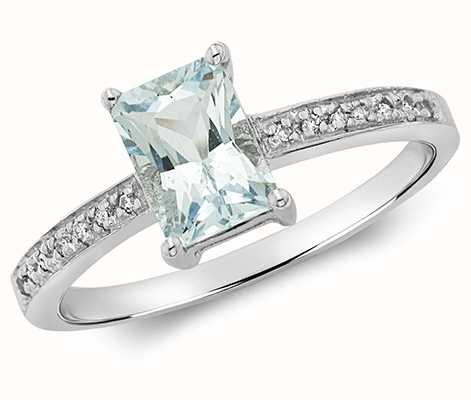 Treasure House 9k White Gold Diamond Aquamarine Ring RD208WAQ