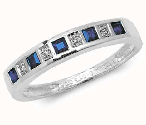 Treasure House 9k White Gold Blue Sapphire and Diamond Ring RD217WS