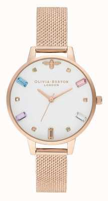 Olivia Burton   Womens   Rainbow Bee   Boucle Rose Gold Mesh Bracelet   OB16RB15