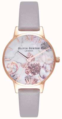 Olivia Burton | Womens | Marble Florals | Grey Lilac Leather Strap | OB16CS14