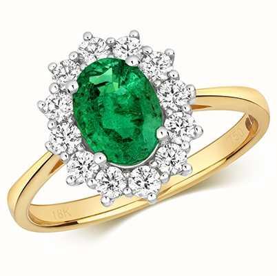Treasure House 9k Yellow Gold Emerald Diamond Cluster Ring RDQ431E