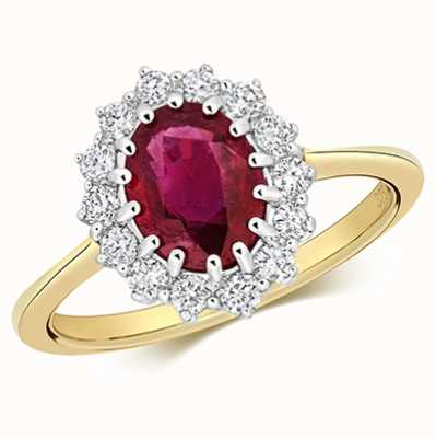 Treasure House 9k Yellow Gold Ruby Diamond Cluster Ring RD280R