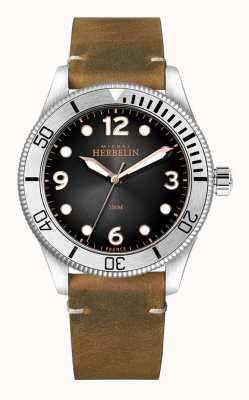 Michel Herbelin | Mens | Trophy | Black Dial | Brown Leather Strap | 12260/T14BR