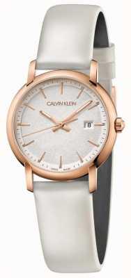 Calvin Klein   Womens Established   White Leather Strap   Silver Dial   K9H236L6