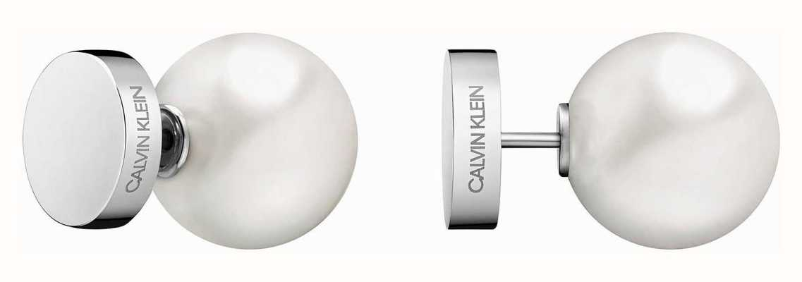 Calvin Klein | Bubbly Silver Stainless Steel White Pearl Stud Earrings | KJ9RME040600