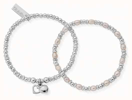 ChloBo | Forever Love | Pearl Bracelets | Set of 2 | 18cm | SBSETFOREVER18