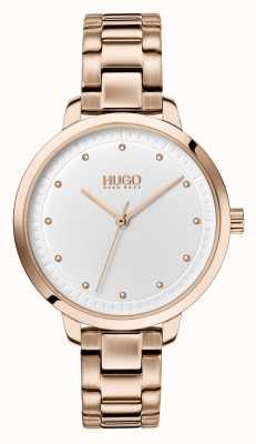 HUGO #Achieve   Rose Gold IP Bracelet   White Dial 1540037
