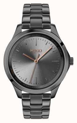 HUGO #Fearless   Grey IP Bracelet   Grey Dial 1540042