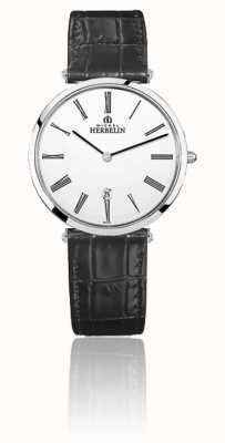 Michel Herbelin | Men's | Epsilon | Black Leather Strap | White Dial | 19406/01N