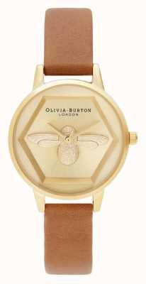Olivia Burton   3D Bee Charity Watch   Honey Tan Vegan Strap   OB16AM167