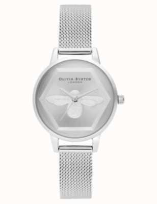 Olivia Burton | 3D Bee Charity Watch | Silver Mesh Bracelet l OB16AM168