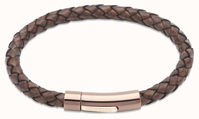 Unique & Co Antique Brown Leather | Steel Clasp | Bracelet B321ADB/21CM