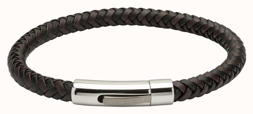 Unique & Co Brown Black Leather |Steel Clasp | Bracelet B371BD/21CM
