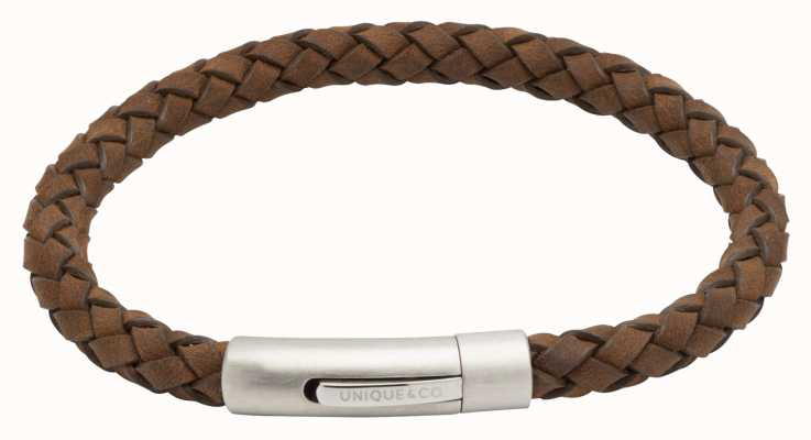 Unique & Co Dark Brown Leather |Steel Clasp | Bracelet B399DB/21CM