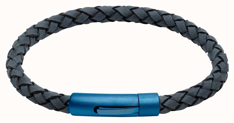 Unique & Co Blue Leather |  Matte Blue IP Clasp | Bracelet B439AB/21CM