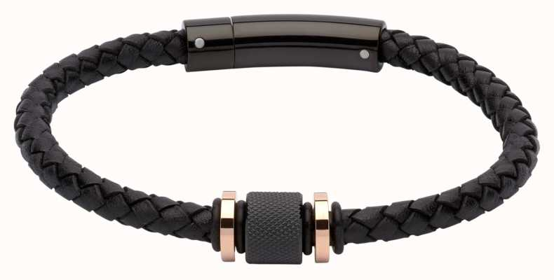 Unique & Co Black Leather | Black IP Steel | Bracelet B347BL/21CM