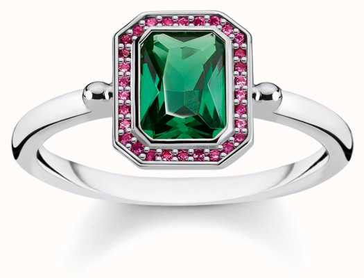 Thomas Sabo 925 Sterling Silver Blackened Ring, Green Stone TR2264-348-7-54