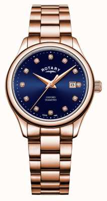 Rotary | Women's Oxford | Rose Gold PVD Plated | Blue Sunray Dial | LB05096/05/D