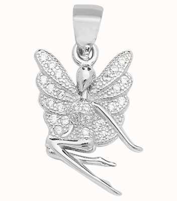 James Moore TH Silver Cz Fairy Pendant G6951