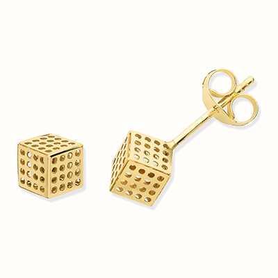 James Moore TH 9ct Gold Dot Cube Stud Earrings ES635