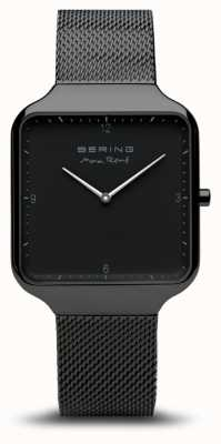 Bering   Max René   Black Steel Mesh Bracelet  Black Dial   15836-123