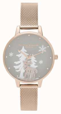 Olivia Burton | Womens | Winter Wonderland | Stag | Rose Gold Mesh | OB16AW01