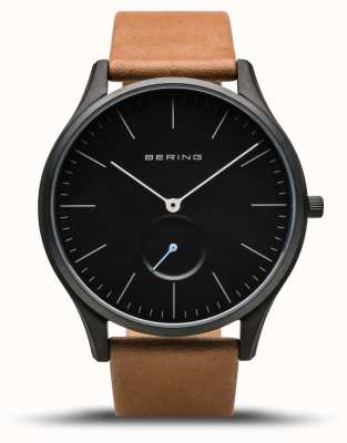 Bering   Classic   Men's Mat Black   Brown Calfskin Leather   16641-522