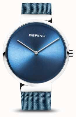 Bering   Classic   Polished/Brushed Silver   Blue Mesh Bracelet   14539-308