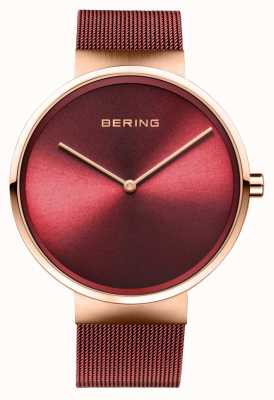 Bering | Classic | Polished/Brushed Rose Gold | Red Mesh Bracelet | 14539-363