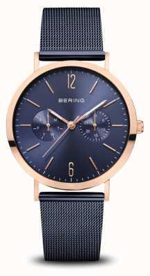 Bering   Classic   Polished Rose Gold   Blue Mesh Bracelet   14236-367