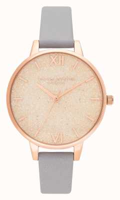 Olivia Burton | Womens | Glitter Dial | Rose Gold | Grey Lilac Leather | OB16GD45