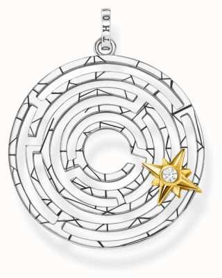 Thomas Sabo Labyrinth With Golden Star Pendant | 925 Sterling Silver PE851-849-14