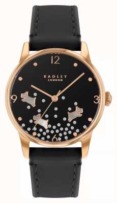Radley Ditsy Dog Glitter | Navy Leather Strap | Black Dial | RY2890