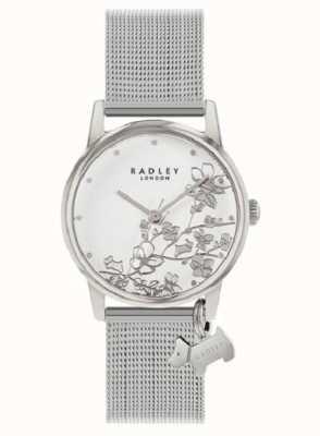 Radley Botanical Floral   Silver Mesh Bracelet   White Floral Dial RY4401