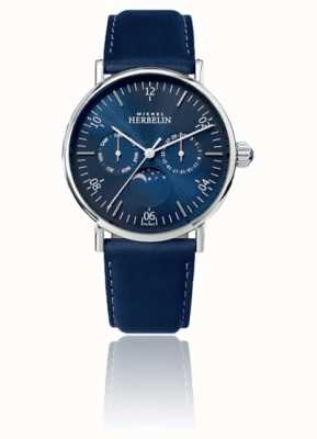Michel Herbelin Montre Inspiration Moonphase Stainless Blue Leather Strap 12747/AP15BL