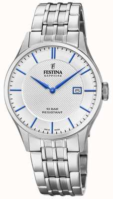 Festina | Men's Swiss Made | Stainless Steel Bracelet | Silver Dial F20005/2