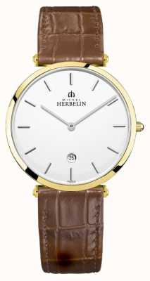 Michel Herbelin | Men's Epsilon | Brown Leather Strap | Silver Dial | 19406/P11GO