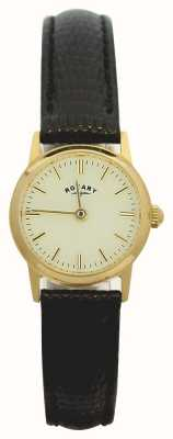 Rotary 9ct Gold Case Womens Leather Strap LS11476/03