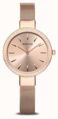Bering | Women's Classic | Rose Gold Mesh | Crystal Set Bezel 16831-366