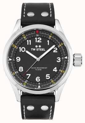 TW Steel | Mens | Swiss Volante | Black Dial | Black Leather Strap | SVS103