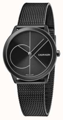 Calvin Klein Unisex   Minimal   Black PVD Mesh   Black Dial K3M5245X
