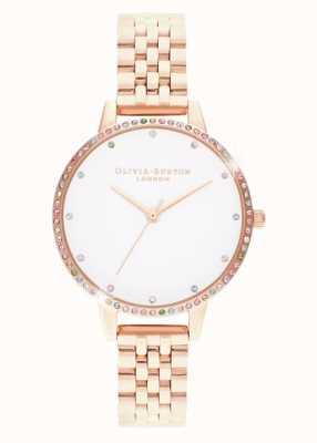 Olivia Burton | Womens | Rainbow Bezel | Rose Gold Bracelet | OB16RB21